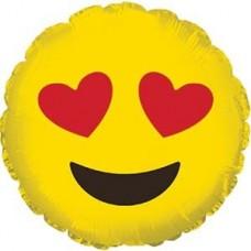 Шар (9''/23 см) Мини-круг, Смайл Эмоции (Влюбленный), Желтый, 1 шт.