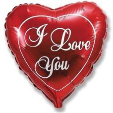 Шар (9''/23 см) Мини-сердце, Я Люблю Тебя, Красный, 1 шт.