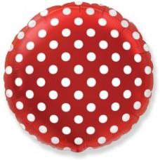 Шар (9''/23 см) Мини-круг, Белые точки, Красный, 1 шт.