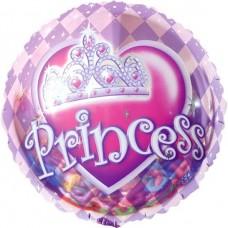 Шар (18''/46 см) Круг, Корона для принцессы, Розовый, 1 шт.