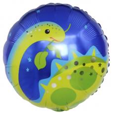 Шар (18''/46 см) Круг, Динозавр Бронтозавр, Синий, 1 шт.