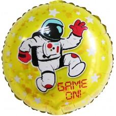 Шар (18''/46 см) Круг, Начало Игры! (космонавт и звезды), Желтый, 1 шт.