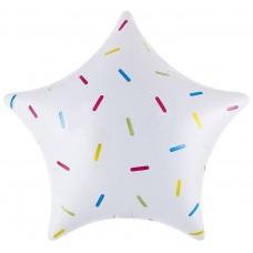 Шар (18''/46 см) Звезда, Сладкое конфетти, Белый, 1 шт.