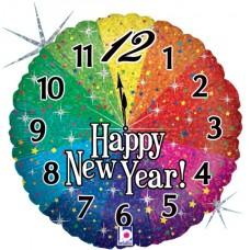Шар (18''/46 см) Круг, Новогодние часы, Яркий фейерверк, Радужный, Голография, 1 шт.