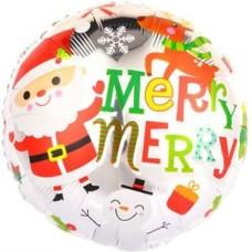 Шар (18''/46 см) Круг, Веселый Дед Мороз, Белый, 1 шт.
