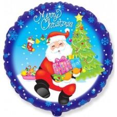 Шар (18''/46 см) Круг, Дед Мороз с подарками, Синий, 1 шт.