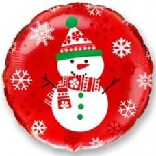 Шар (18''/46 см) Круг, Снеговик, Красный, 1 шт.