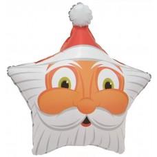 Шар (19''/48 см) Звезда, Голова, Дед Мороз, 1 шт.