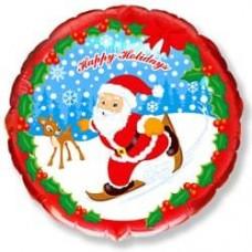 Шар (18''/46 см) Круг, Скользящий Дед Мороз, Веселый Новый Год, Красный, 1 шт.