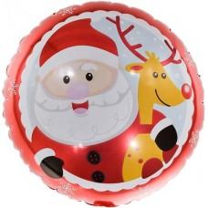Шар (18''/46 см) Круг, Веселый Дед Мороз с оленем, Красный, 1 шт.
