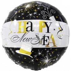 Шар (18''/46 см) Круг, С Новым Годом! (искрящийся фейерверк), Черный/Белый, 1 шт.