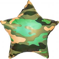 Шар (21''/53 см) Звезда, Камуфляж, Военный, 1 шт.