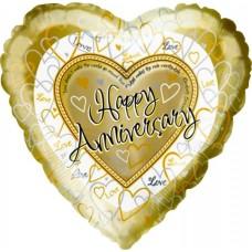 Шар (18''/46 см) Сердце, С годовщиной свадьбы, Золото, 1 шт.