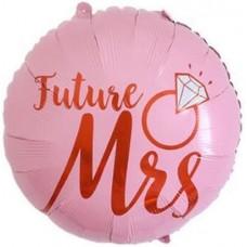 Шар (22''/56 см) Круг, Невеста (кольцо с бриллиантом), Розовый, 1 шт.