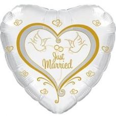 Шар (18''/46 см) Сердце, Свадебные голуби, Белый, 1 шт.