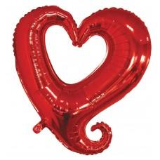 Шар (18''/46 см) Сердце, Вензель, Красный, 1 шт.