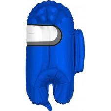 Шар (26''/66 см) Фигура, Космонавтик, Синий, 1 шт.