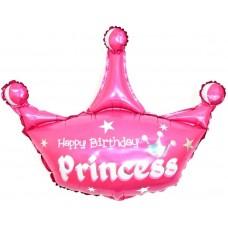 Шар с клапаном (17''/43 см) Мини-фигура, Корона, С Днем Рождения, Принцесса, Розовый, 1 шт.