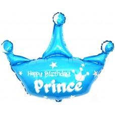 Шар с клапаном (17''/43 см) Мини-фигура, Корона, С Днем Рождения, Принц, Голубой, 1 шт.
