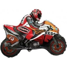 Шар (12''/30 см) Мини-фигура, Мотоцикл, Оранжевый, 1 шт.