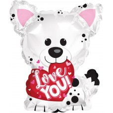 Шар (10''/25 см) Мини-фигура, Люблю Тебя (щенок с сердечком), 1 шт.