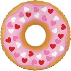 Шар (10''/25 см) Мини-фигура, Пончик ( в сердечках), Розовый, 1 шт.