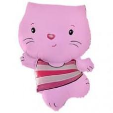 Шар (12''/30 см) Мини-фигура, Котенок, Розовый, 1 шт.