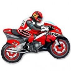 Шар (12''/30 см) Мини-фигура, Мотоцикл, Красный, 1 шт.