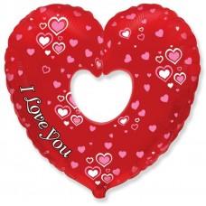 Шар (12''/30 см) Мини-сердце, Я Люблю Тебя (множество сердец), 1 шт.