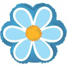 Шар (10''/25 см) Мини-цветок, Ромашка, Голубой, 1 шт.