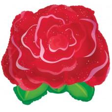 Шар (11''/28 см) Мини-фигура, Роза, Красный, 1 шт.