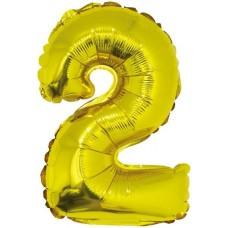 Шар с клапаном (16''/41 см) Мини-цифра, 2, Золото, 1 шт.