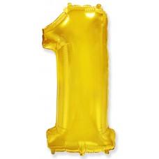 Шар с клапаном (16''/41 см) Мини-цифра, 1, Золото, 1 шт.