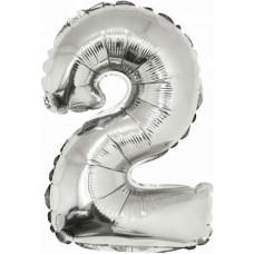 Шар с клапаном (16''/41 см) Мини-цифра, 2, Серебро, 1 шт.