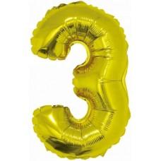 Шар с клапаном (16''/41 см) Мини-цифра, 3, Золото, 1 шт.