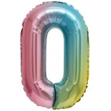 Шар с клапаном (16''/41 см) Мини-цифра, 0, Нежная радуга, Градиент, 1 шт.