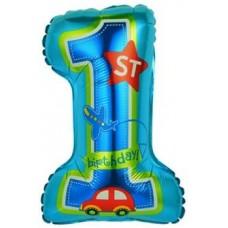 Шар с клапаном (16''/41 см) Мини-цифра, 1 День Рождения Мальчика, Голубой, 1 шт.