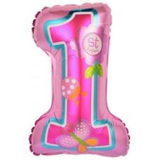 Шар с клапаном (16''/41 см) Мини-цифра, 1 День рождения девочки, Розовый, 1 шт.