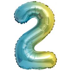 Шар с клапаном (16''/41 см) Мини-цифра, 2, Нежная радуга, Градиент, 1 шт.