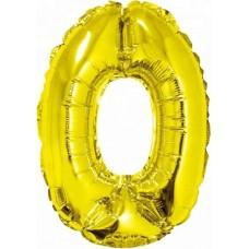 Шар с клапаном (16''/41 см) Мини-цифра, 0, Золото, 1 шт.