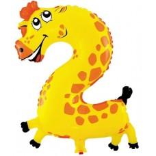 Шар с клапаном (16''/41 см) Мини-цифра, 2, Жираф, 1 шт.