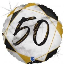 Шар (18''/46 см) Круг, 50, Цифра, Мрамор Калакатта, Черный, Голография, 1 шт.