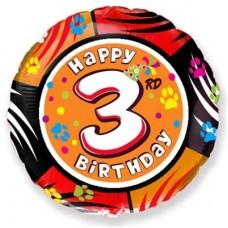 Шар (18''/46 см) Круг, 3 Цифра, Happy Birthday, 1 шт.