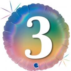 Шар (18''/46 см) Круг, 3 Цифра, Радужный, Голография, 1 шт.