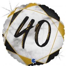 Шар (18''/46 см) Круг, 40, Цифра, Мрамор Калакатта, Черный, Голография, 1 шт.