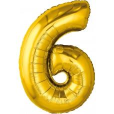 Шар (32''/81 см) Цифра, 6, Золото, 1 шт. в упак.