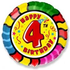 Шар (18''/46 см) Круг, 4 Цифра, Happy Birthday, 1 шт.