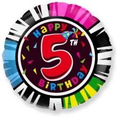Шар (18''/46 см) Круг, 5, Happy Birthday, 1 шт.