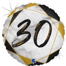 Шар (18''/46 см) Круг, 30 Цифра, Мрамор Калакатта, Черный, Голография, 1 шт.