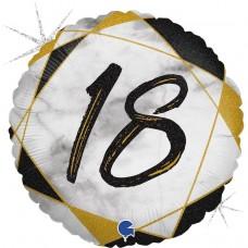 Шар (18''/46 см) Круг, 18 Цифра, Мрамор Калакатта, Черный, Голография, 1 шт.